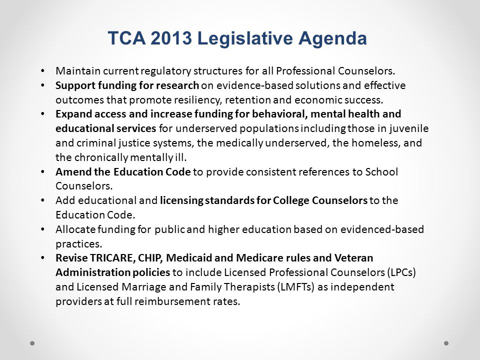TCA 2013 Legislative Agenda