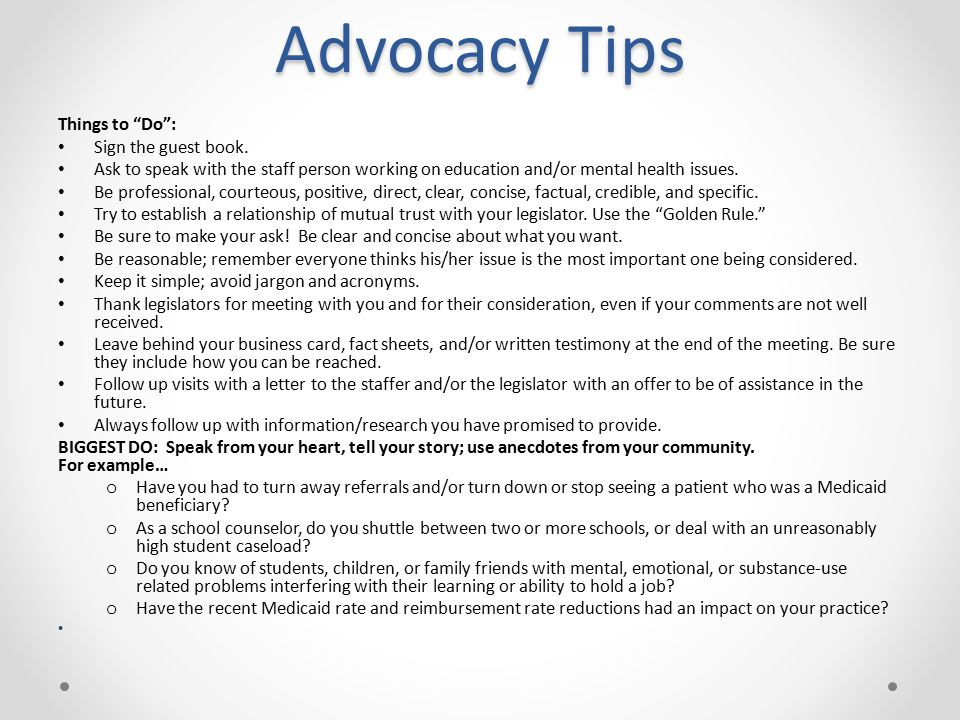 Advocacy Tips Things to Do : Sign the guest book.