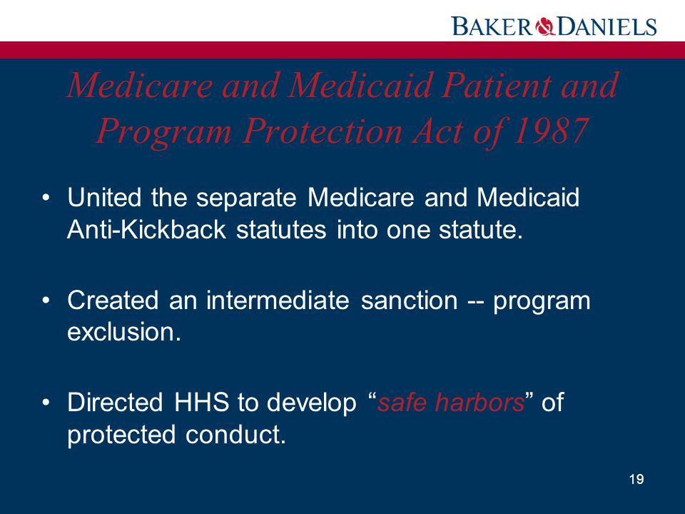 Medicare and Medicaid Patient and Program Protection Act of 1987