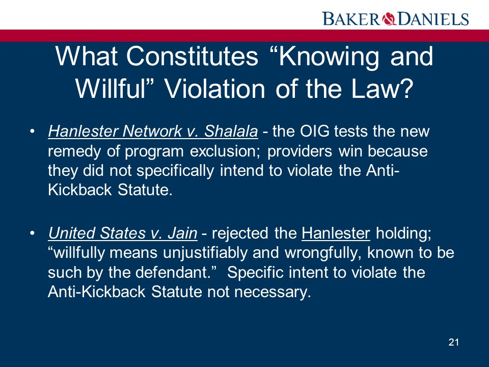 What Constitutes Knowing and Willful Violation of the Law