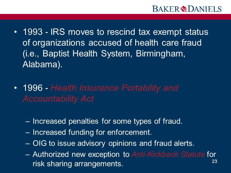 1996 - Health Insurance Portability and Accountability Act