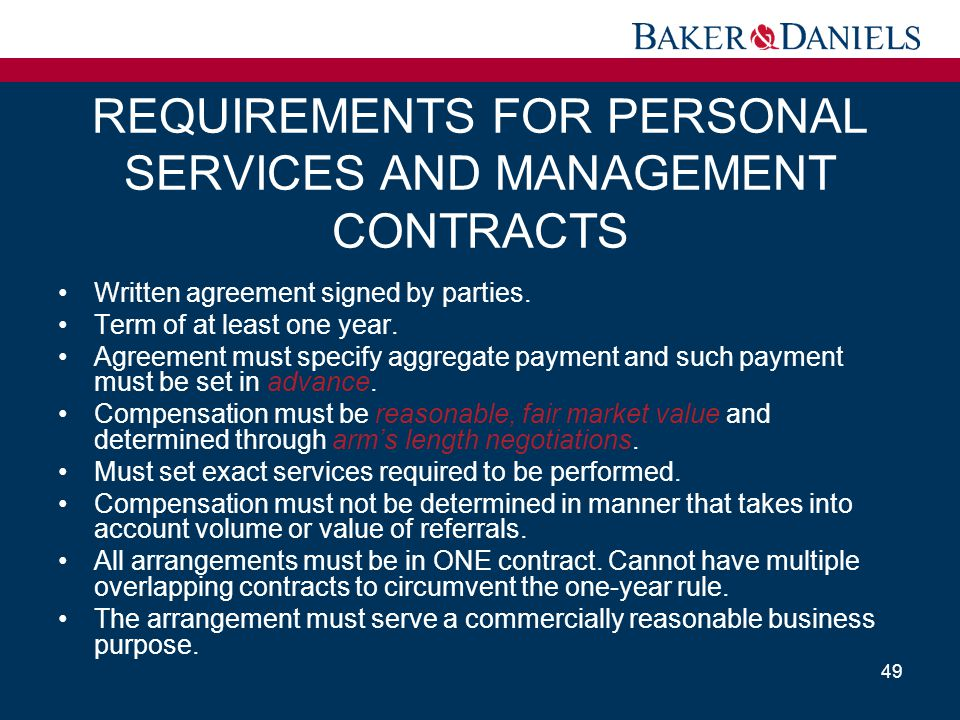 REQUIREMENTS FOR PERSONAL SERVICES AND MANAGEMENT CONTRACTS