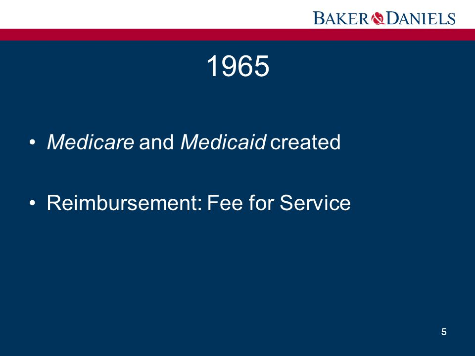 1965 Medicare and Medicaid created Reimbursement: Fee for Service