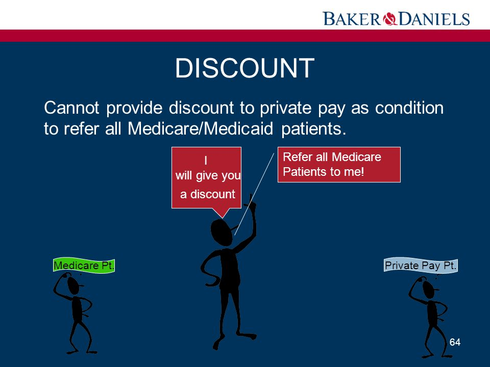 DISCOUNT Cannot provide discount to private pay as condition to refer all Medicare/Medicaid patients.