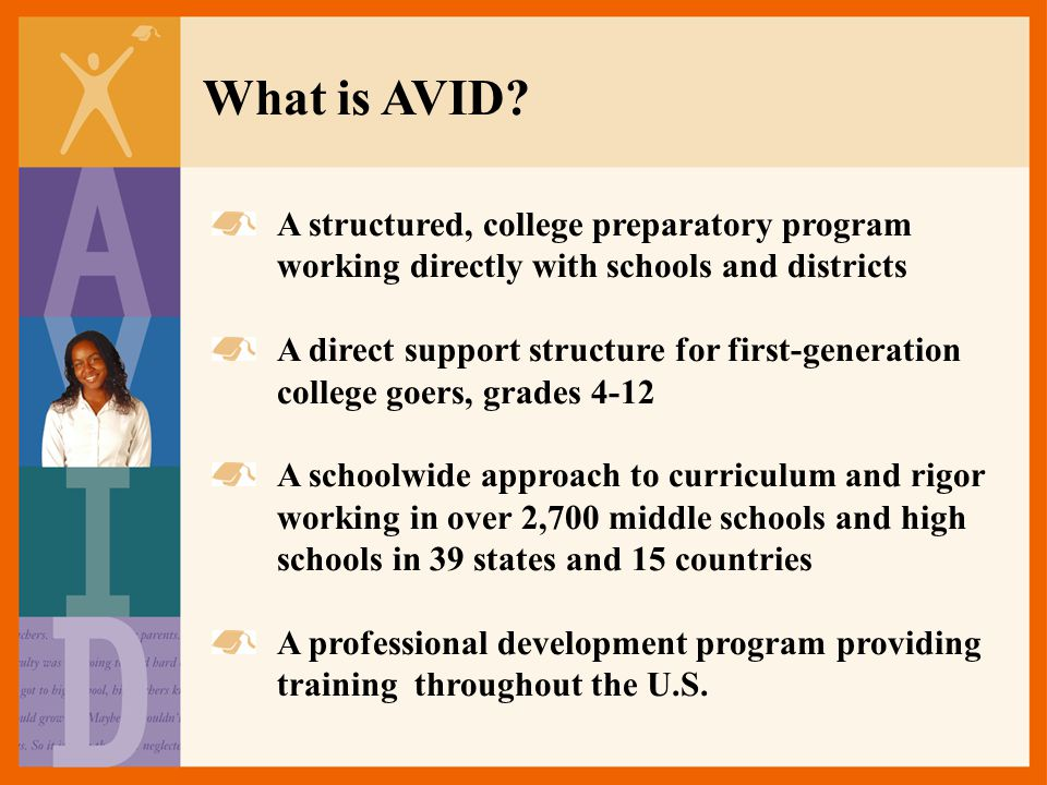 What is AVID A structured, college preparatory program working directly with schools and districts.