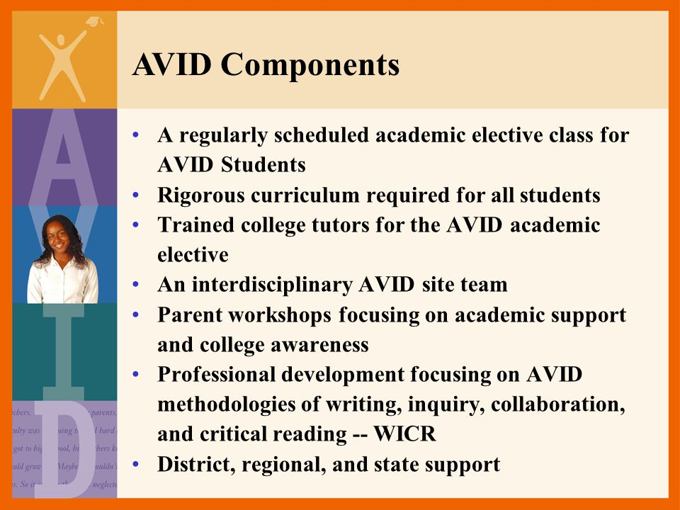 AVID Components A regularly scheduled academic elective class for
