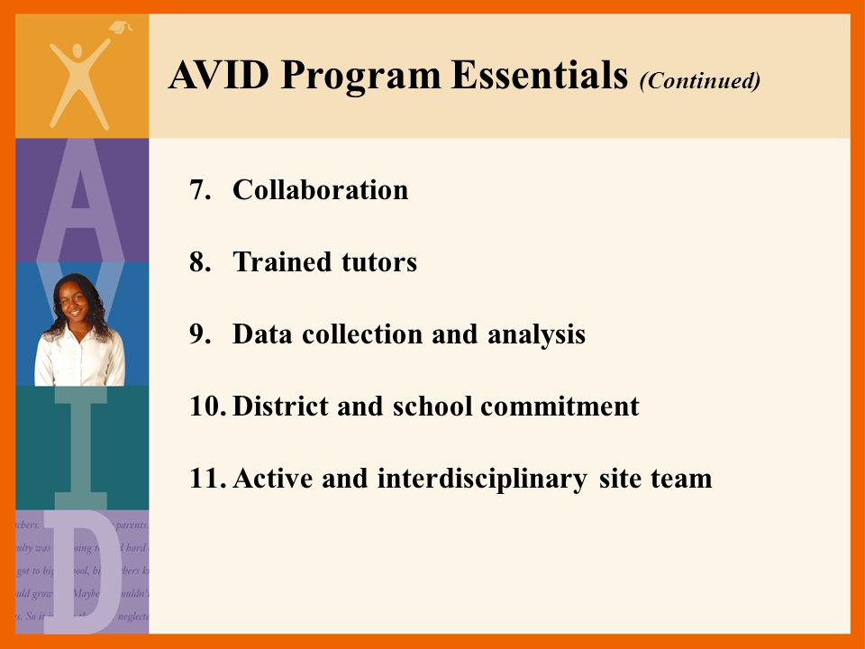 AVID Program Essentials (Continued)