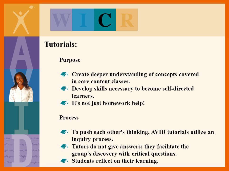 Tutorials: Purpose. Create deeper understanding of concepts covered in core content classes.