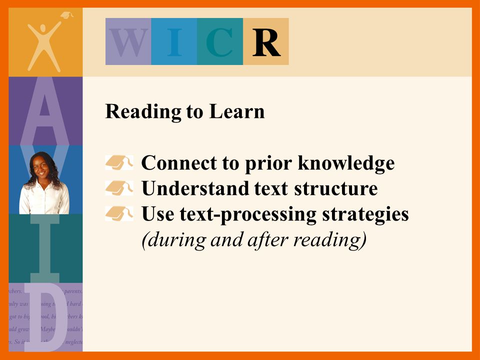 Reading to Learn Connect to prior knowledge. Understand text structure.