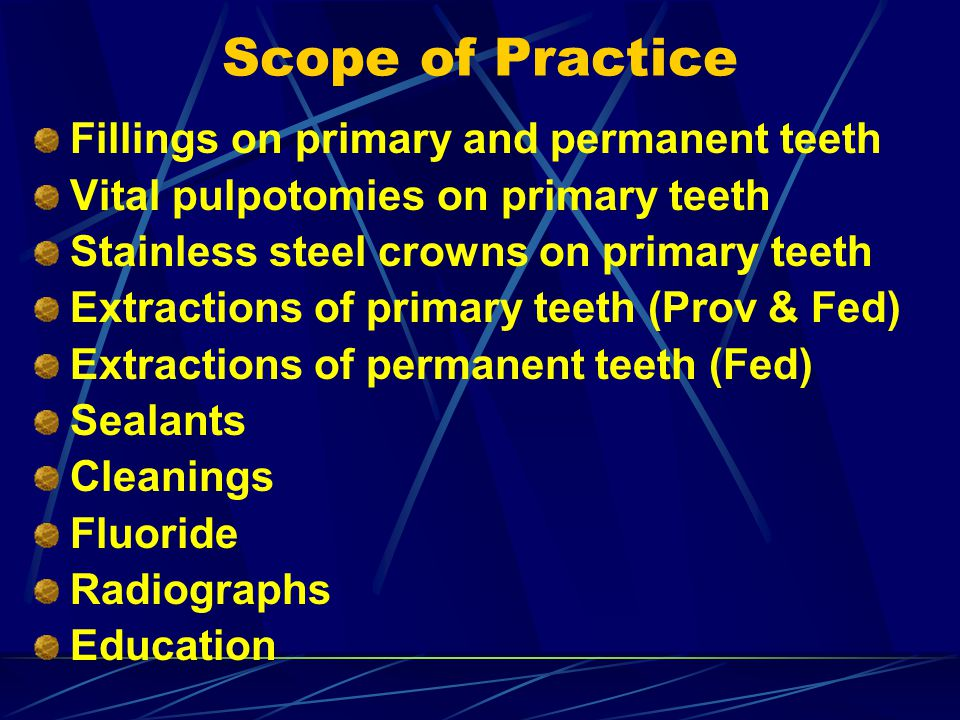 Scope of Practice Fillings on primary and permanent teeth