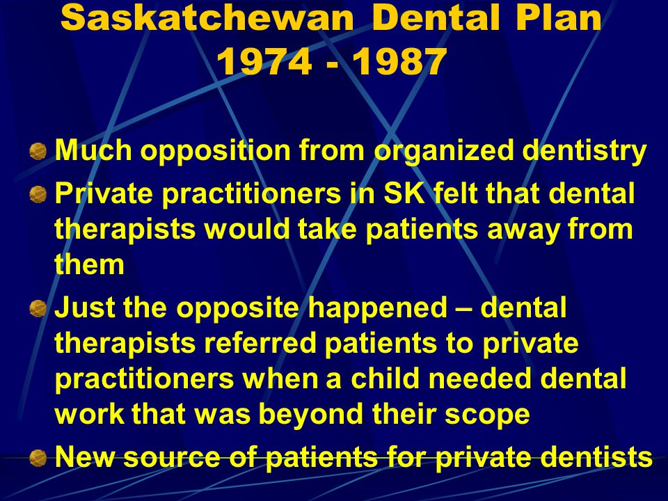 Saskatchewan Dental Plan 1974 - 1987
