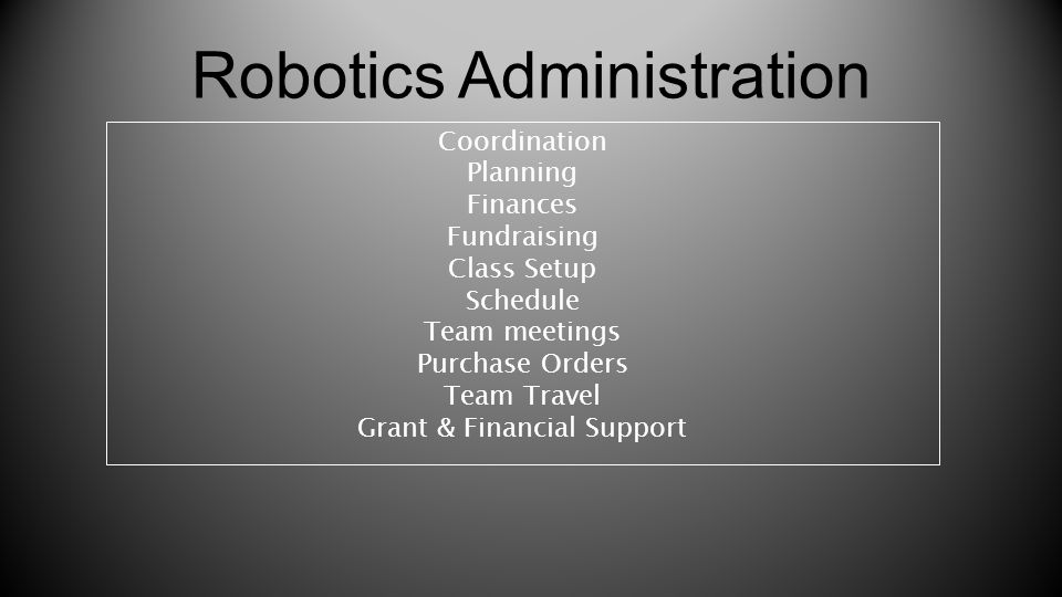 Robotics Administration