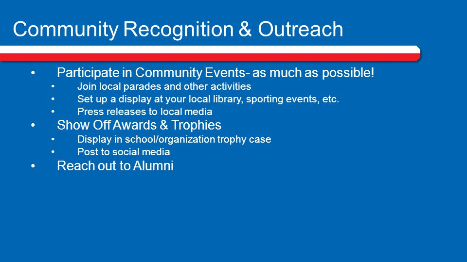 Community Recognition & Outreach
