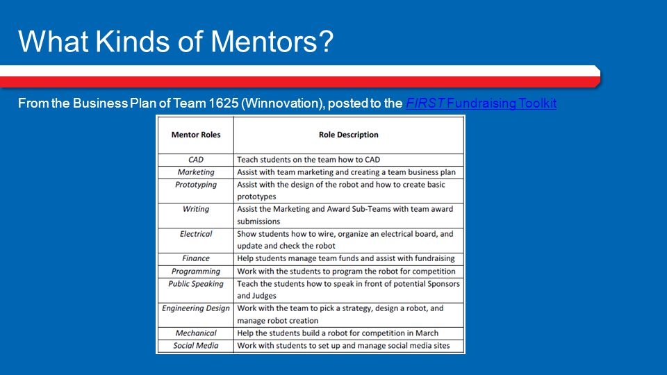 What Kinds of Mentors.