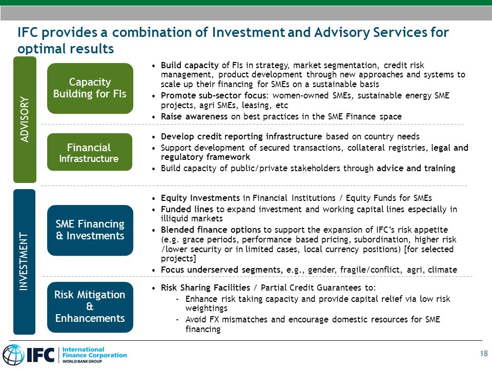 IFC provides a combination of Investment and Advisory Services for optimal results