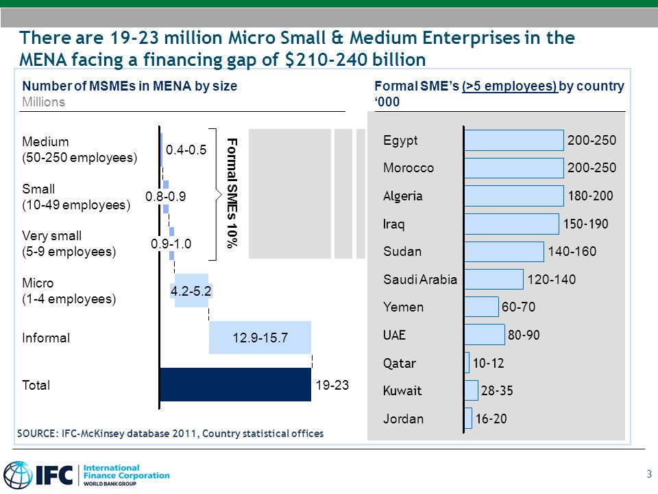 There are 19-23 million Micro Small & Medium Enterprises in the MENA facing a financing gap of $210-240 billion