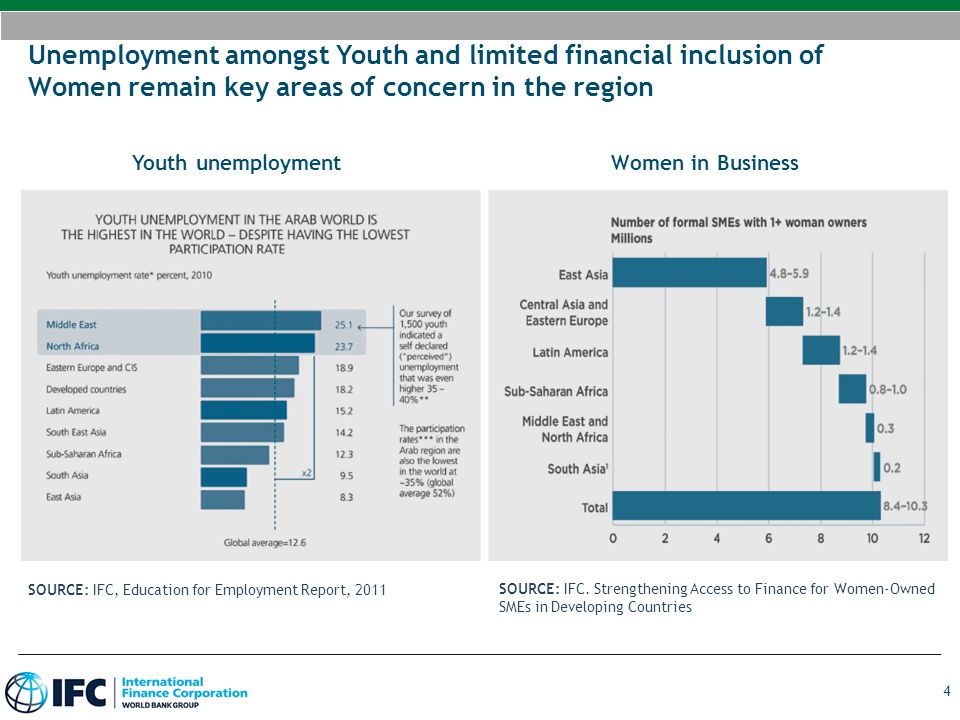 Unemployment amongst Youth and limited financial inclusion of Women remain key areas of concern in the region
