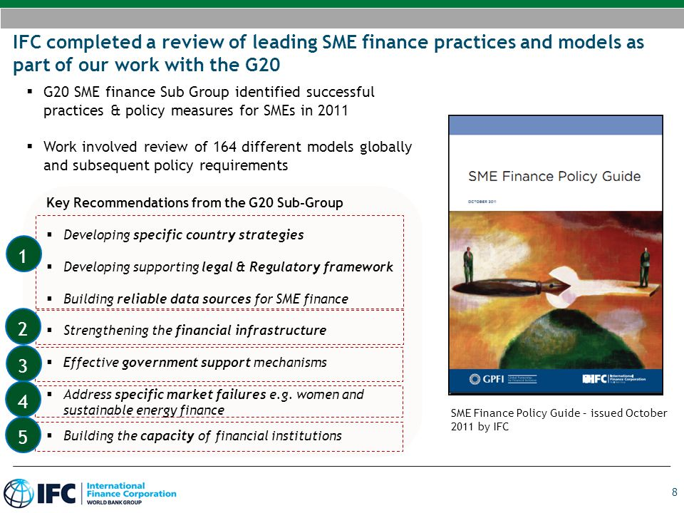 IFC completed a review of leading SME finance practices and models as part of our work with the G20