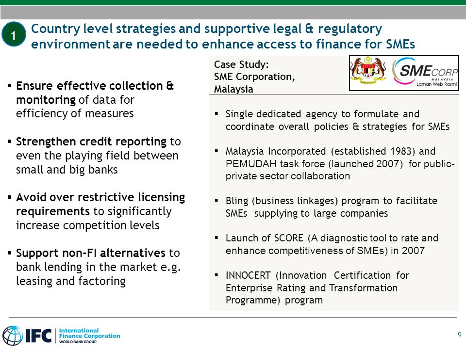 1 Country level strategies and supportive legal & regulatory environment are needed to enhance access to finance for SMEs.