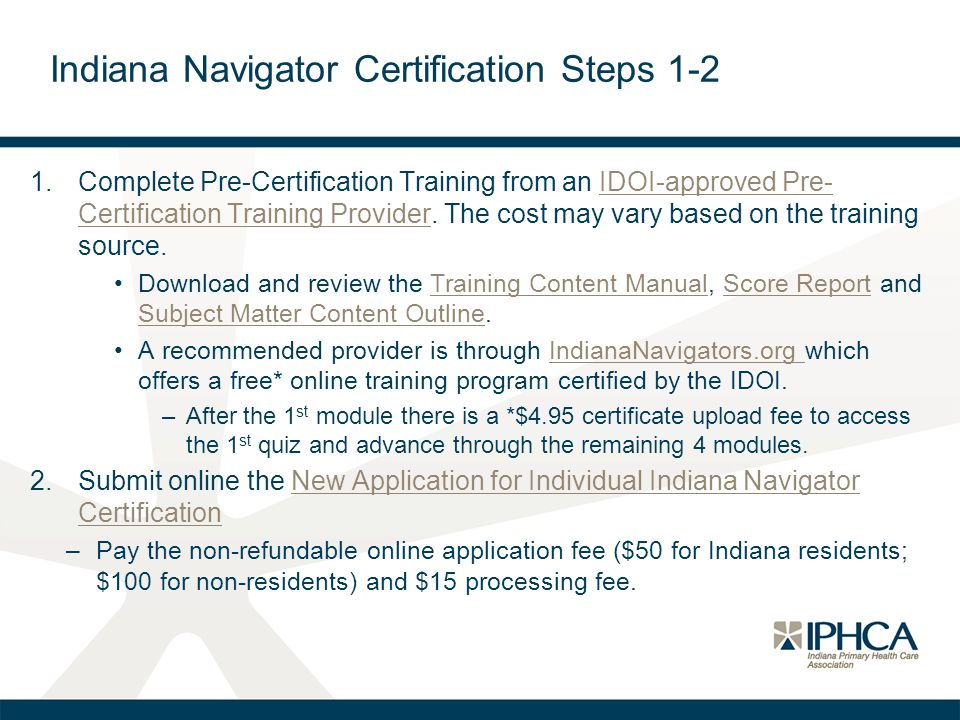 Indiana Navigator Certification Steps 1-2