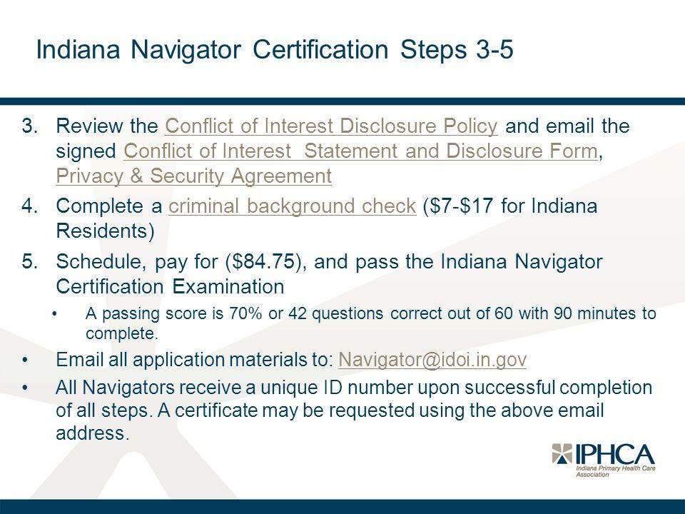 Indiana Navigator Certification Steps 3-5