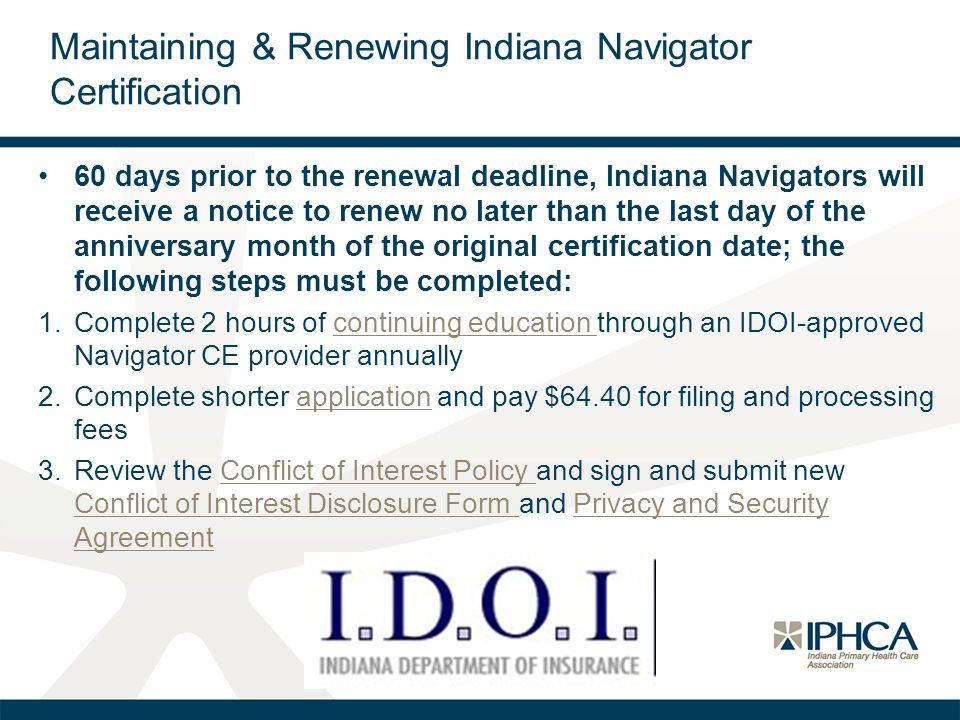 Maintaining & Renewing Indiana Navigator Certification