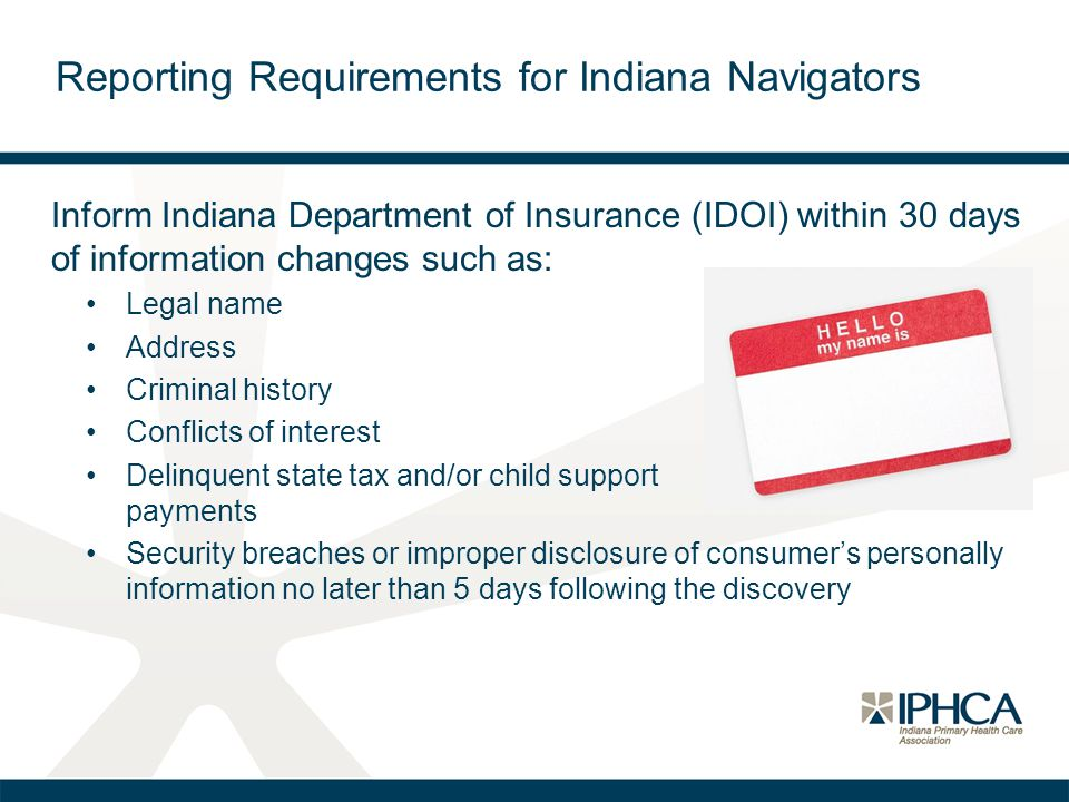 Reporting Requirements for Indiana Navigators