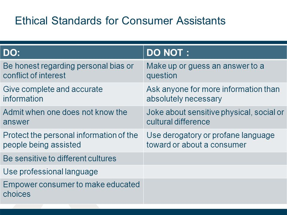 Ethical Standards for Consumer Assistants