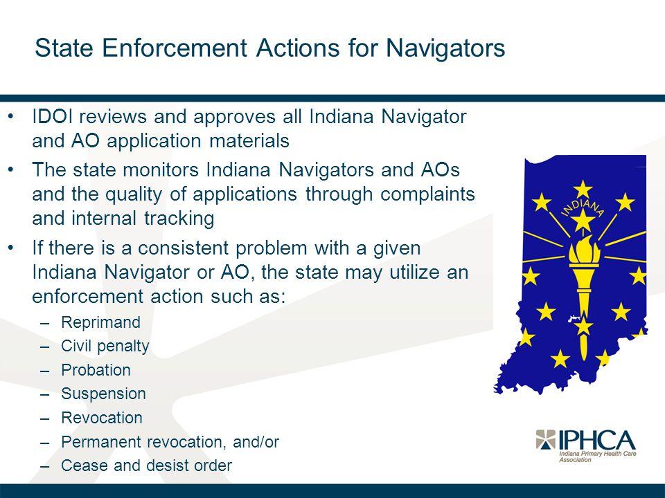 State Enforcement Actions for Navigators