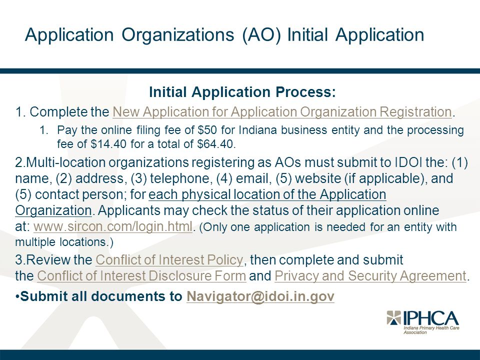 Application Organizations (AO) Initial Application
