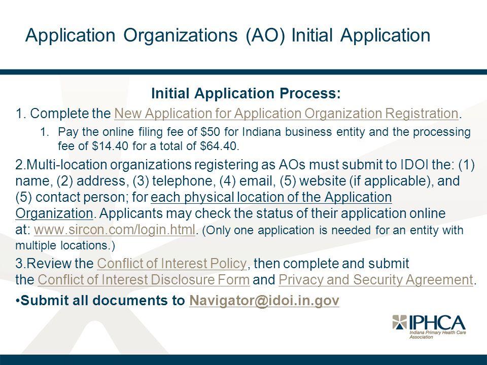 Application Organizations (AO) Initial Application