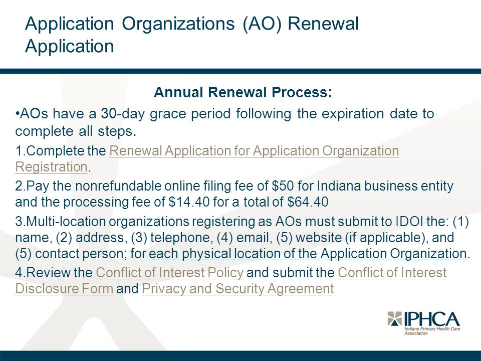 Application Organizations (AO) Renewal Application