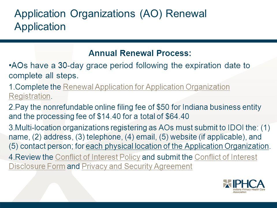 Application Organizations (AO) Renewal Application