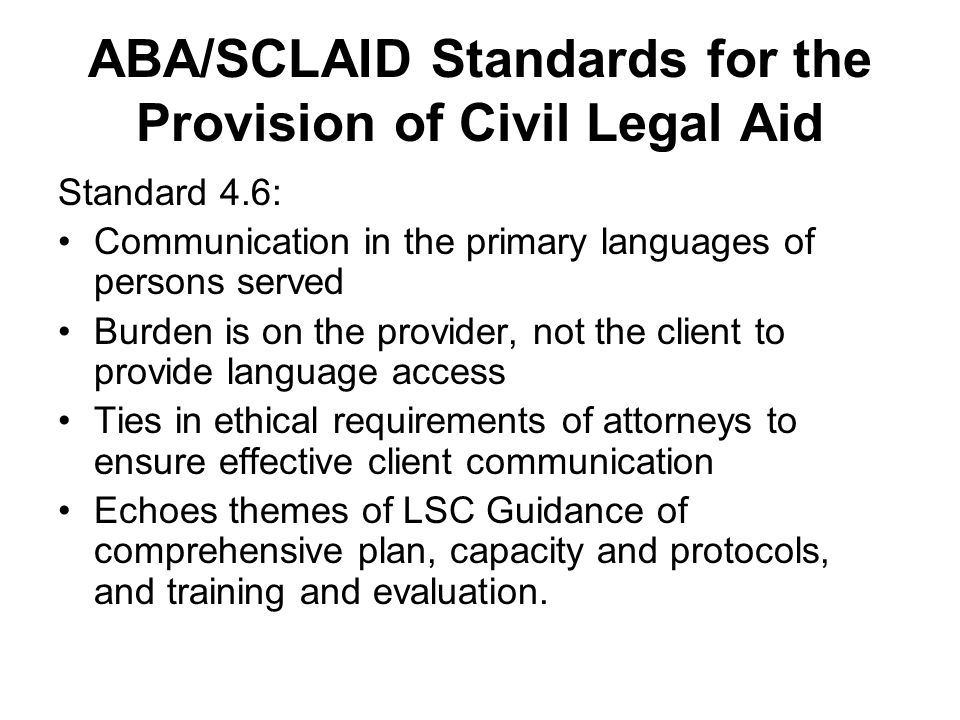 ABA/SCLAID Standards for the Provision of Civil Legal Aid