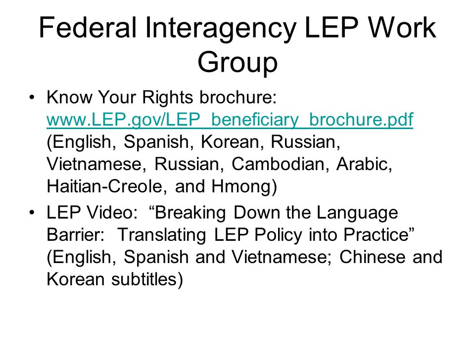 Federal Interagency LEP Work Group