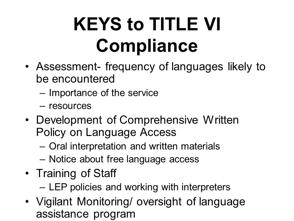 KEYS to TITLE VI Compliance