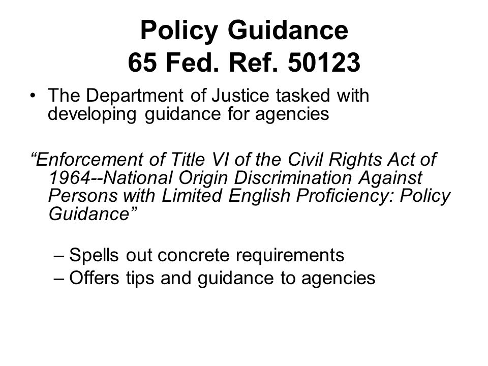 Policy Guidance 65 Fed. Ref. 50123