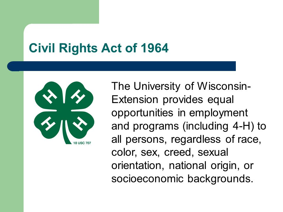 * 07/16/96. Civil Rights Act of 1964.