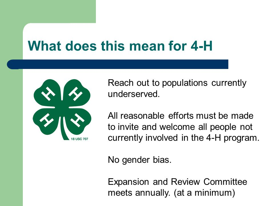 What does this mean for 4-H