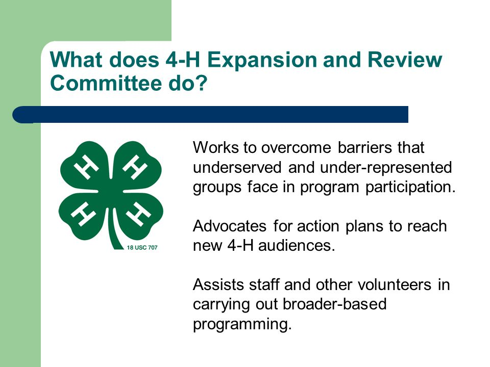What does 4-H Expansion and Review Committee do