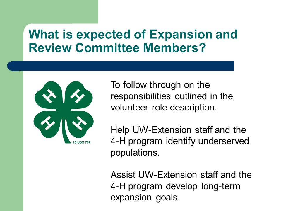 What is expected of Expansion and Review Committee Members
