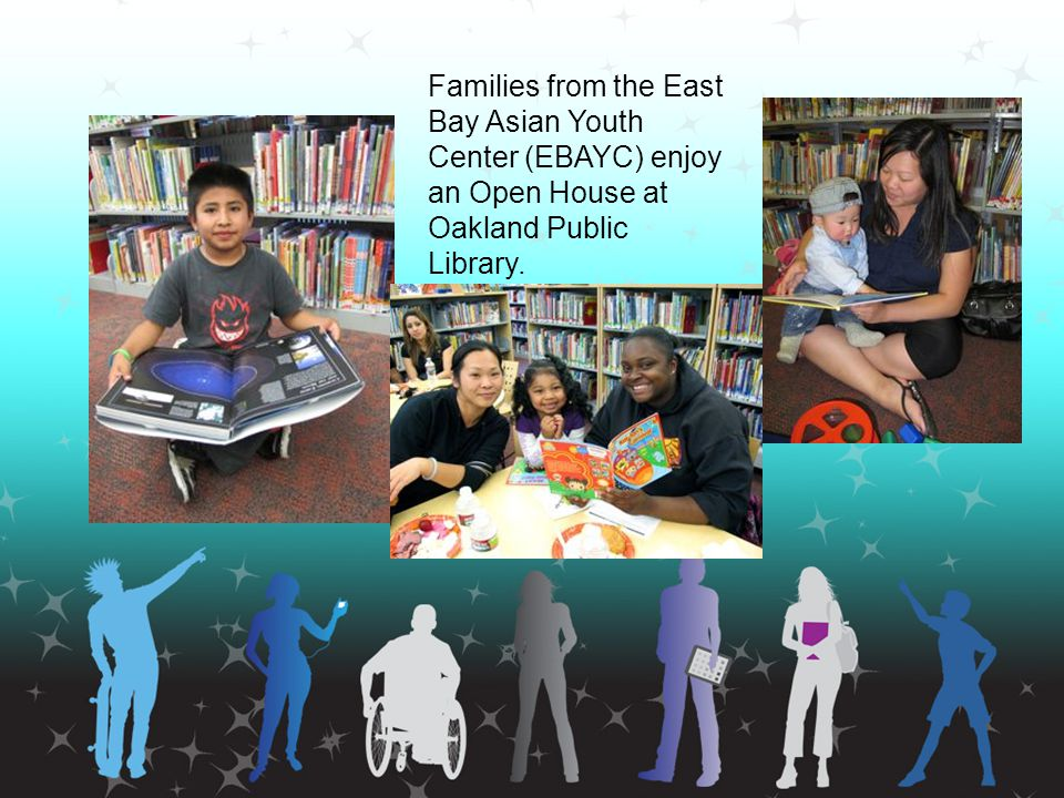 Families from the East Bay Asian Youth Center (EBAYC) enjoy an Open House at Oakland Public Library.