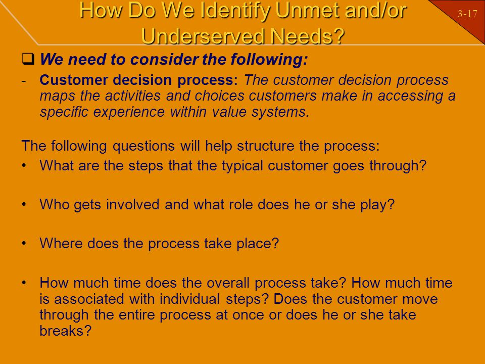 How Do We Identify Unmet and/or Underserved Needs