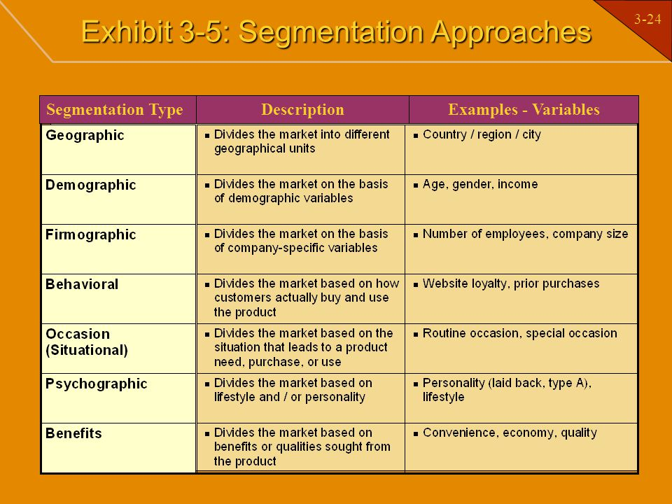 Exhibit 3-5: Segmentation Approaches