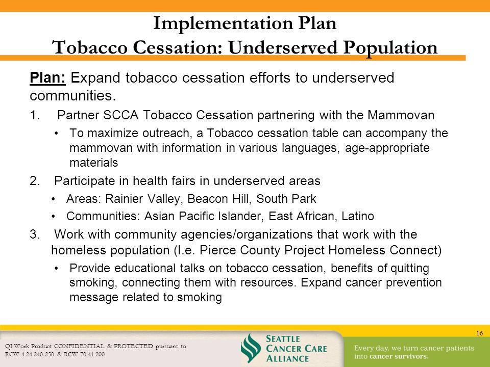 Implementation Plan Tobacco Cessation: Underserved Population