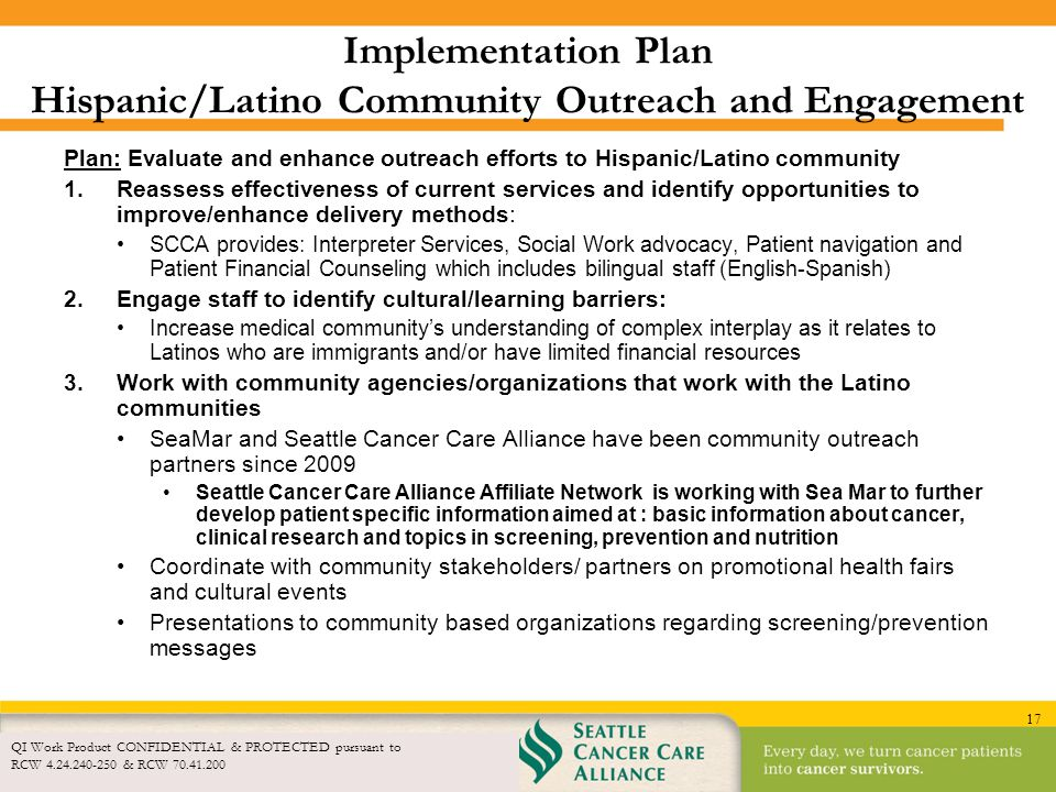 Implementation Plan Hispanic/Latino Community Outreach and Engagement