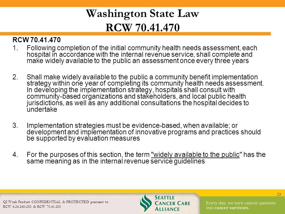 Washington State Law RCW 70.41.470