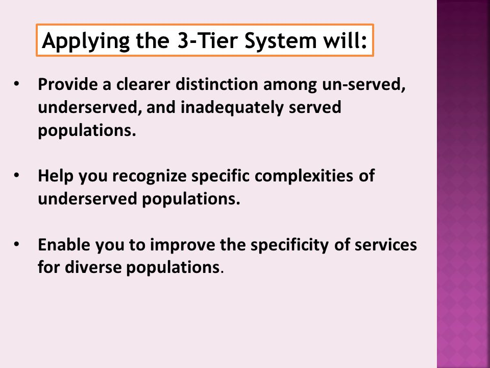 Applying the 3-Tier System will:
