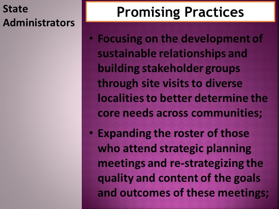 State Administrators Promising Practices.