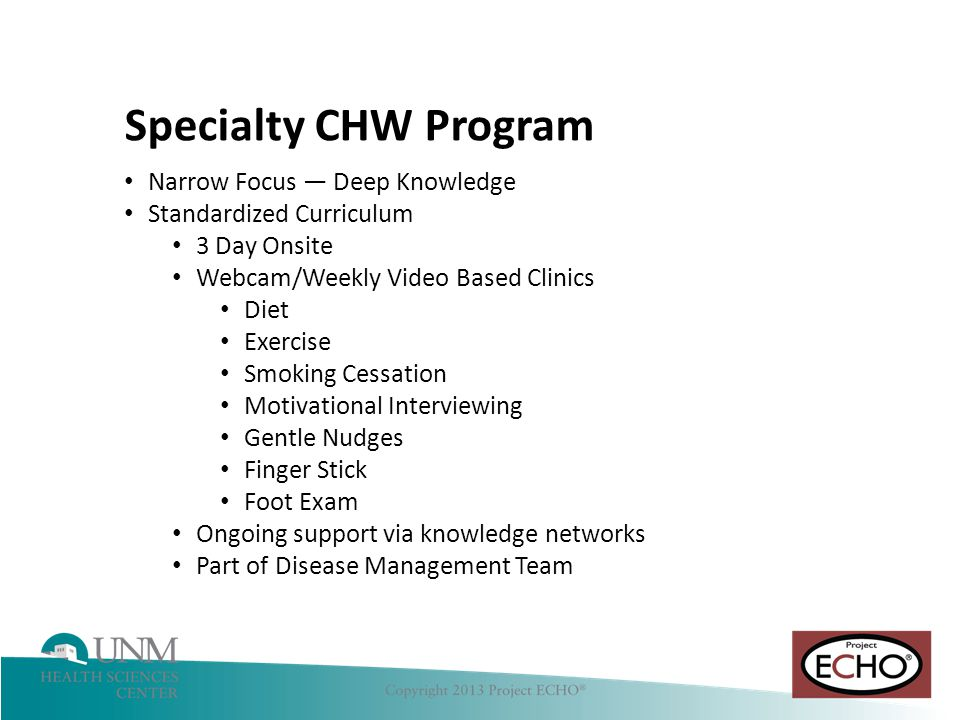 Specialty CHW Program Narrow Focus — Deep Knowledge